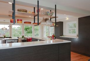 Contemporary Kitchen with Farmhouse sink, dishwasher, Standard height, Pendant light, Corian counters, European Cabinets