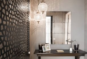 Contemporary Entryway with Antique Mirror Panels, BLADET Vase, Pendant light, CAPIZ SHELL PENDANT, High ceiling