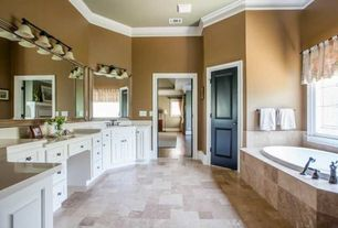 Traditional Master Bathroom with Undermount sink, Limestone counters, flush light, Paint 1, Framed Partial Panel, Bathtub
