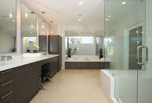 Contemporary Master Bathroom with Casement, drop in bathtub, Double sink, partial backsplash, Pendant light, Standard height
