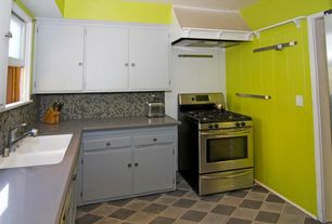 Modern Kitchen with L-shaped, Paint1, Inset cabinets, Raised panel, Penny Tile, Undermount sink, Concrete counters