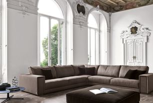 Traditional Living Room with French doors, Crown molding, Carpet, Exposed beam, Reid corner sectional in fabric