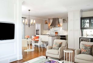 Contemporary Great Room with Chandelier, Marble backsplash, Pottery Barn - Nottingham Upholstered Armchair, Crown molding