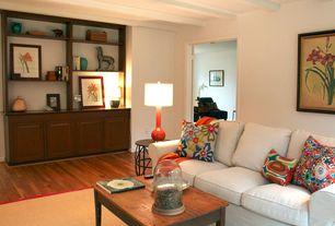 Traditional Living Room with Built-in bookshelf, Hardwood floors, Exposed beam