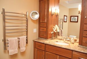 Craftsman Full Bathroom with Complex granite counters, frameless showerdoor, Flat panel cabinets, three quarter bath, Shower