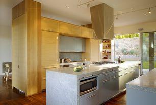 Contemporary Kitchen with Simple Granite, European Cabinets, Flush, Kitchen island, One-wall, Undermount sink