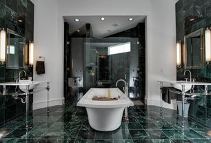 Modern Master Bathroom with Master bathroom, Custom Frameless Shower, can lights, Wall Tiles, Paint, frameless showerdoor