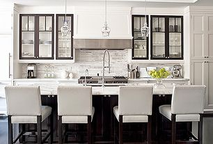 Traditional Kitchen with Stone Tile, Inset cabinets, Rustic bell glass pendant, Kitchen island, Pendant light, One-wall