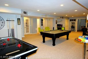 Contemporary Game Room with Great Northern Popcorn 6005 Lincoln Antique Popcorn Cart, Carpet, French doors