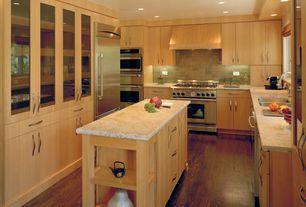 Contemporary Kitchen with Simple granite counters, Casement, Multiple Sinks, U-shaped, full backsplash, Large Ceramic Tile