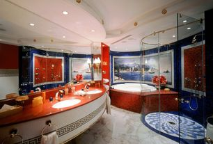 Eclectic Master Bathroom with Bathtub, picture window, Master bathroom, Undermount sink, Wall sconce, Glass counters, Shower