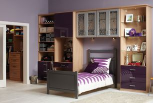 Contemporary Kids Bedroom with Hardwood floors, California Closets Kids' Closet, Built-in bookshelf, High ceiling