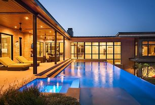 Contemporary Swimming Pool with exterior tile floors, exterior concrete tile floors, French doors, Infinity pool, Casement