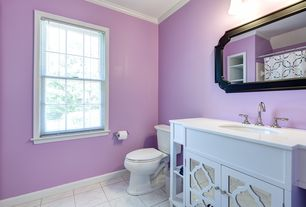 Traditional Full Bathroom with Simple marble counters, Home Decorators Collection Reflections Bath Vanity, Glass panel