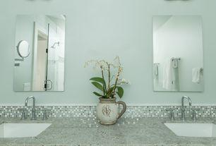 Modern Master Bathroom with Hudson Valley Lighting Modern Bathroom Light with Beige / Cream Glass in Satin Nickel Finish
