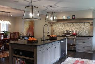 Contemporary Kitchen with Flat panel cabinets, Undermount sink, Industrial Metal Iron Glass Pendant Light, Ceramic Tile