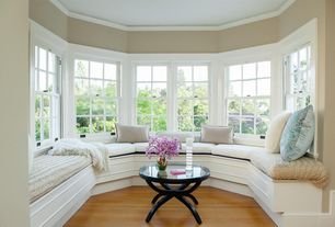 Traditional Living Room with Standard height, Paint 2, Crown molding, Window seat, double-hung window, Paint 1, Sun room