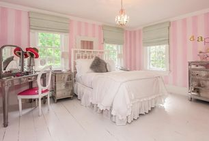 Traditional Kids Bedroom with Crown molding, Hardwood floors, Chandelier, Standard height, interior wallpaper
