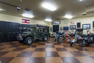 Eclectic Garage with travertine tile floors, High ceiling, specialty door, flush light