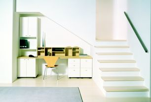 Contemporary Home Office with Cathedral ceiling, Carpet, Built-in bookshelf, Fritz Hansen Series 7 Side Chair