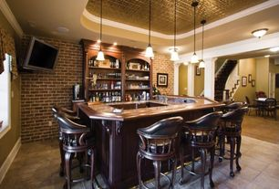 Traditional Bar with Crown molding, can lights, Pendant light, Vaxcel Berkeley Flush mount - 15W in. Aged Walnut, Columns