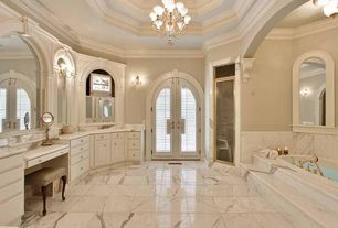 Traditional Master Bathroom with Raised panel, flush light, Flush, Wall sconce, Crown molding, Bathtub, Master bathroom