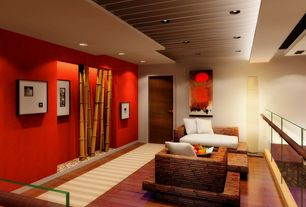 Contemporary Living Room with can lights, Standard height, Bamboo chaise lounge, Cove lighting, Cherry stain finish, Paint