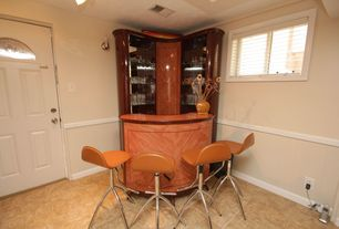 Contemporary Bar with Casement, Wall sconce, Standard height, Glass panel door, Chair rail, travertine tile floors