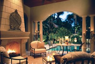 "Traditional Patio with Ceiling fan, Stone Patio Tables 49"" & 63"" round Marble Mosaic, Wood ceiling, Pillars, Covered patio"