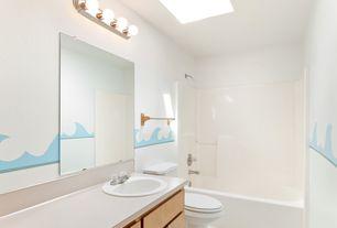 Modern Kids Bathroom with Skylight, Hampton Bay 4-Light Chrome Raceway Bath Light, Corian counters, European Cabinets