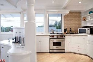 Traditional Kitchen with Flush, Box ceiling, can lights, Subway Tile, Kitchen island, L-shaped, gas range, Corian counters
