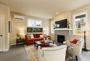Transitional Living Room with specialty door, Built-in bookshelf, Noble House Tafton Upholstered Chair, stone fireplace