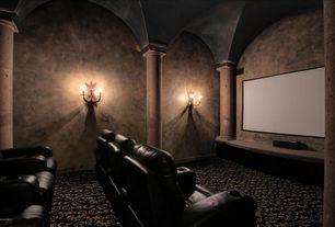 Mediterranean Home Theater with Columns, Carpet, Standard height, interior wallpaper, Wall sconce
