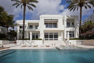 Contemporary Swimming Pool with Pathway, Pool with hot tub, Outdoor kitchen, Trellis, Raised beds, exterior stone floors