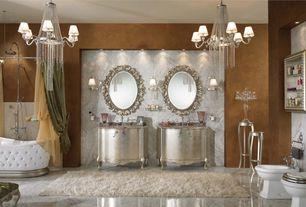 Art Deco Master Bathroom with Uttermost Beccaria Oval Mirror, Flat panel cabinets, curtain showerdoor, Undermount sink, Bidet