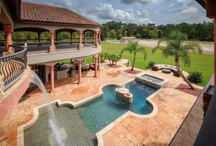 Mediterranean Swimming Pool with Fence, Deck Railing, Outdoor kitchen, Fire pit, Pool with hot tub, exterior stone floors