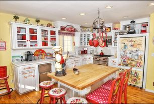 Eclectic Kitchen with Flat panel cabinets, Mazama hardwood - exotic south american collection bolivian tigerwood, Glass panel