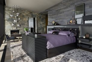 Contemporary Guest Bedroom with Way basics floating wall shelf, Tom Dixon Mirror Ball Pendants