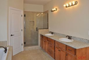 Craftsman Master Bathroom with MS International Jania Cream Limestone, Simple granite counters, Inset cabinets, Double sink