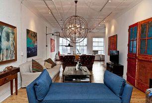 Modern Great Room with flush light, bedroom reading light, specialty door, Box ceiling, Crown molding, Chandelier