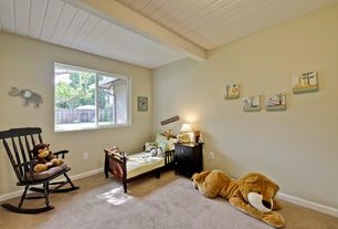 Traditional Kids Bedroom with Casement, Exposed beam, Carpet, Standard height