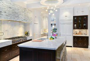 Contemporary Kitchen with Breakfast bar, Undermount sink, Flat panel cabinets, Calacatta marble, Pendant light, Glass panel
