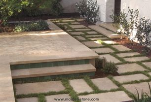 Contemporary Patio with exterior concrete tile floors, Pathway, Fence, exterior tile floors