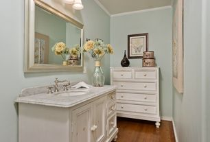 "Traditional Powder Room with Home Decorators Collection Hampton Bay 44""W Single Bath Vanity wit White Marble Top, Powder room"