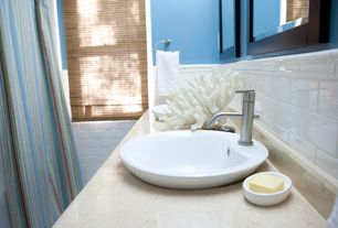 Tropical Full Bathroom with Travertine counters, Vessel sink, CeraStyle by Nameeks Suit Round Ceramic Bathroom Sink
