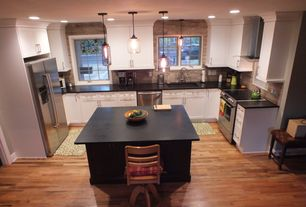 Traditional Kitchen with Flat panel cabinets, Kenmore 4.6 cu. ft. Slide-In Electric Range - Stainless Steel, Travertine
