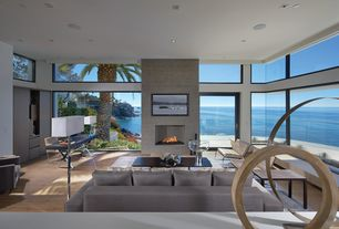 Contemporary Living Room with specialty window, Standard height, Cement fireplace, Hardwood floors, French doors, Fireplace