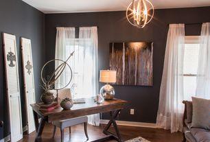 Contemporary Home Office with Hardwood floors, Ursula Abresch An Autumn Song, Chandelier, Art desk