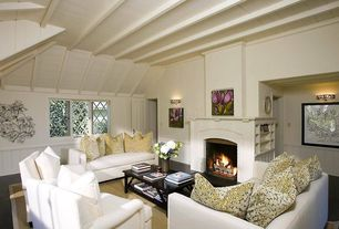 Cottage Living Room with Wainscotting, Casement, Laminate floors, Carpet, Standard height, Paint 1, Wall sconce