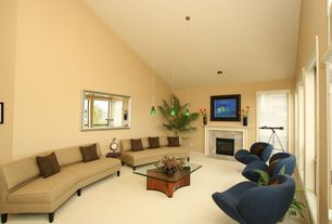 Modern Living Room with insert fireplace, Fireplace, High ceiling, Pendant light, Carpet, can lights, specialty window